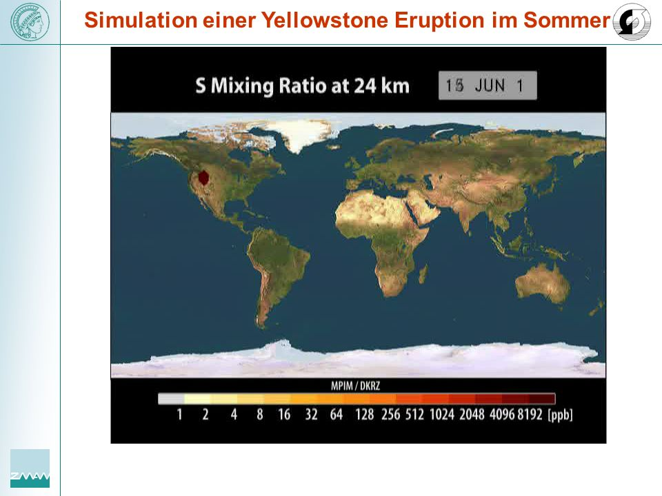 Simulation einer Yellowstone Eruption im Sommer