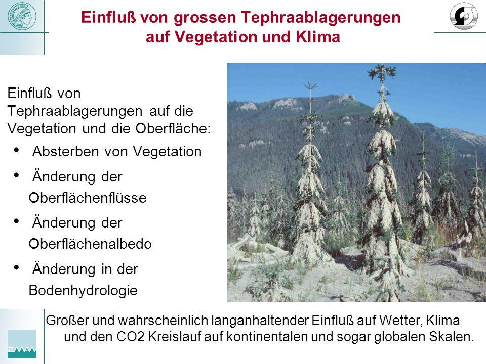 Einfluß von grossen Tephraablagerungen auf Vegetation und Klima