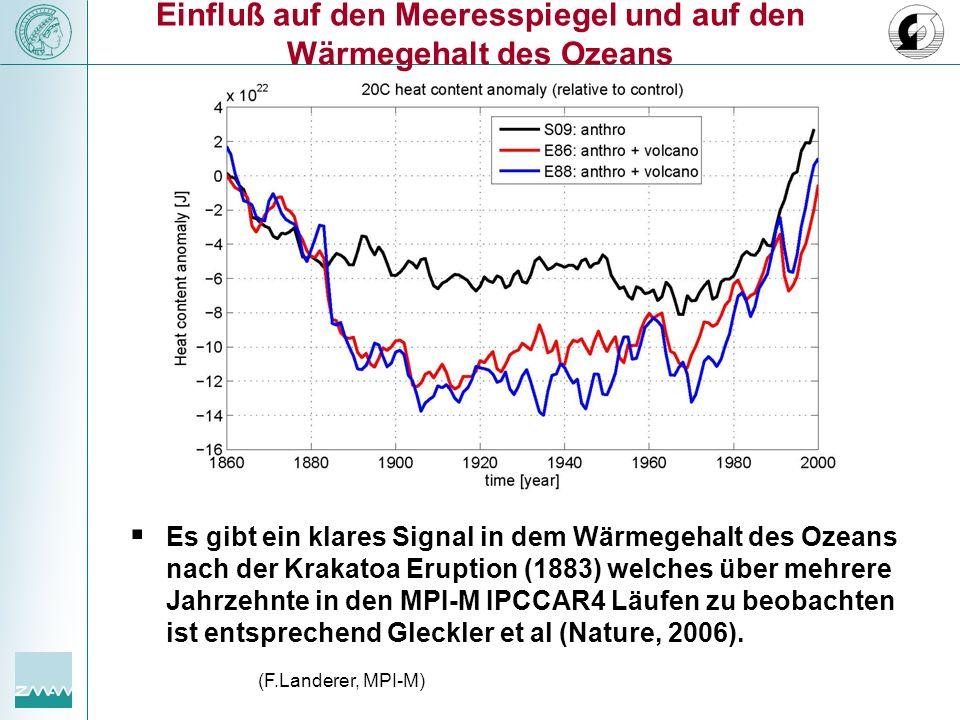 """Einfluß auf den Meeresspiegel und auf den Wärmegehalt des Ozeans """""""