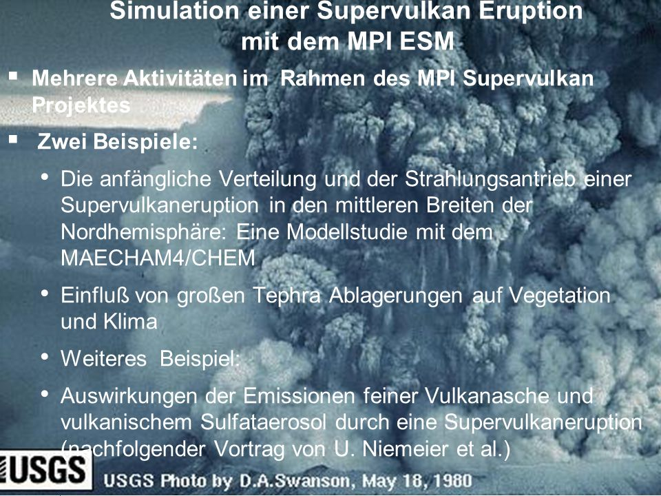 Simulation einer Supervulkan Eruption mit dem MPI ESM