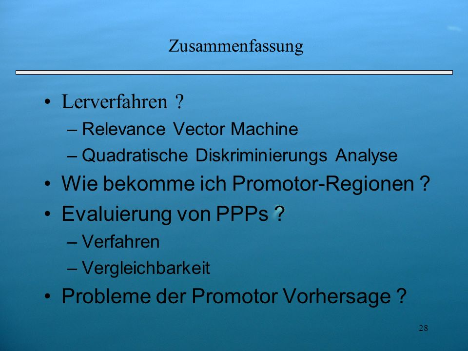 Wie bekomme ich Promotor-Regionen Evaluierung von PPPs