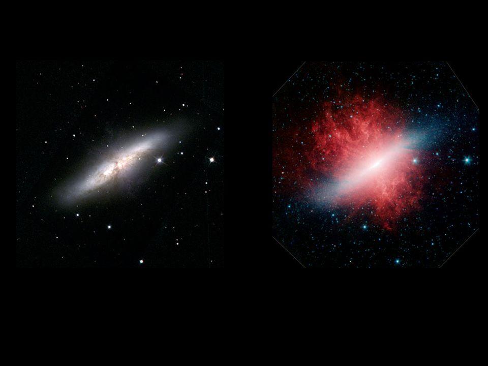 M82, ein Beispiel, wie unterschiedlich das Weltall in sichtbarem (links) und Infraroten Licht aussieht.