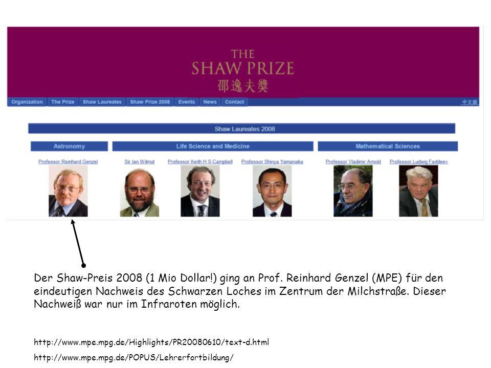 Shaw-Preis 2008 (1.000.000 Dollar!) an Reinhard Genzel für den eindeutigen Nachweis des Schwarzen Loches im Zentrum der Milchstraße