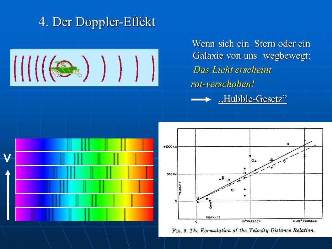 4. Der Doppler-Effekt Wenn sich ein Stern oder ein Galaxie von uns wegbewegt: Das Licht erscheint.