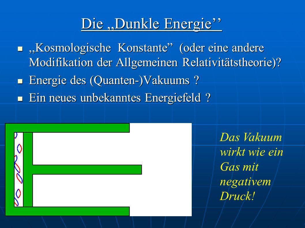 Die ,,Dunkle Energie'' ,,Kosmologische Konstante (oder eine andere Modifikation der Allgemeinen Relativitätstheorie)