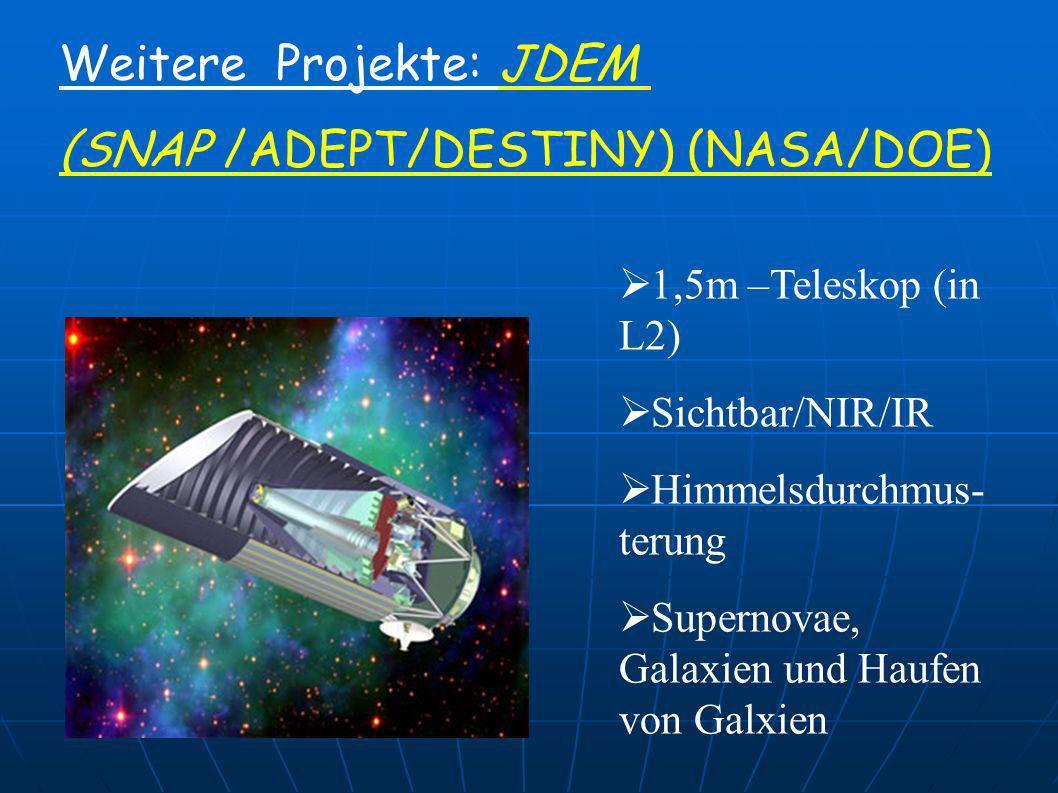 Weitere Projekte: JDEM (SNAP /ADEPT/DESTINY) (NASA/DOE)