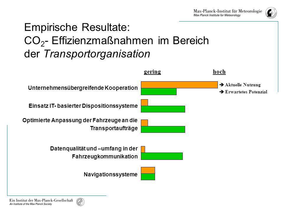 Empirische Resultate: CO2- Effizienzmaßnahmen im Bereich