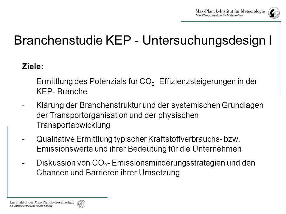 Branchenstudie KEP - Untersuchungsdesign I