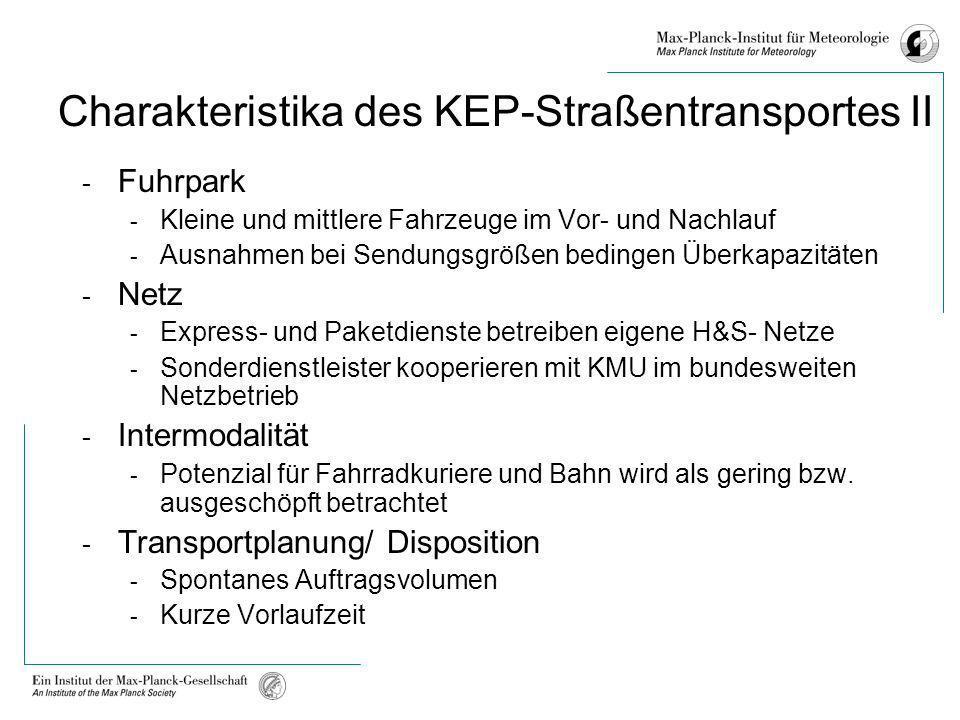 Charakteristika des KEP-Straßentransportes II