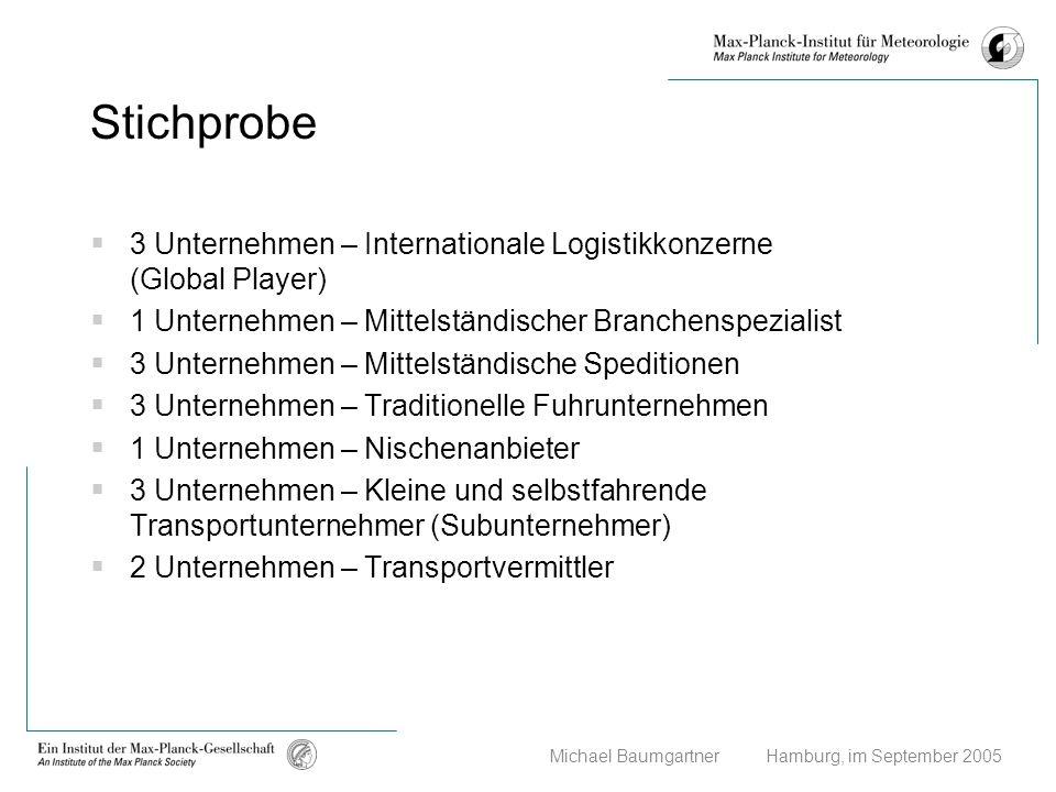Stichprobe 3 Unternehmen – Internationale Logistikkonzerne (Global Player) 1 Unternehmen – Mittelständischer Branchenspezialist.