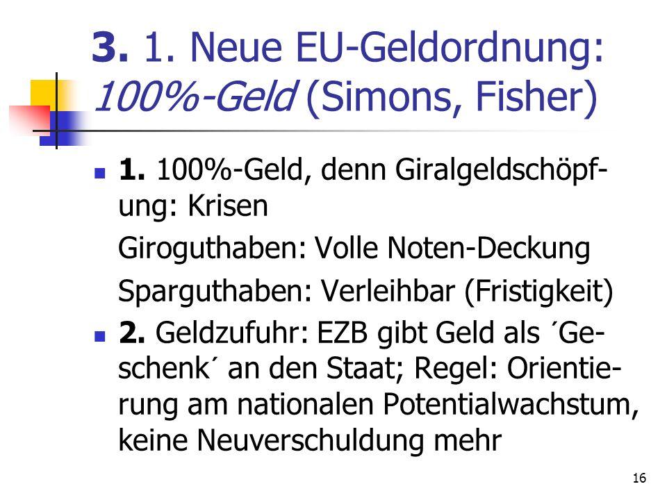 3. 1. Neue EU-Geldordnung: 100%-Geld (Simons, Fisher)
