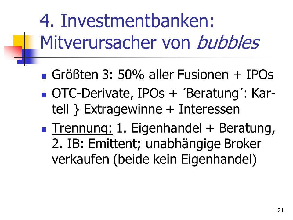 4. Investmentbanken: Mitverursacher von bubbles