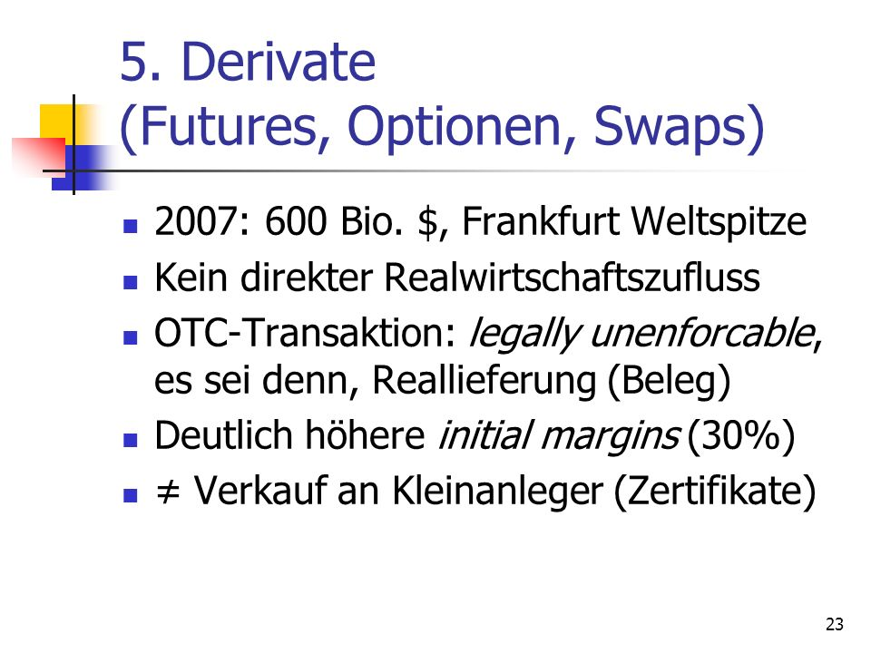 5. Derivate (Futures, Optionen, Swaps)