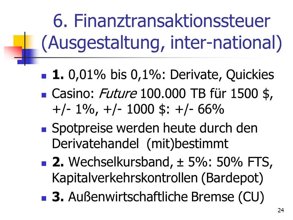 6. Finanztransaktionssteuer (Ausgestaltung, inter-national)
