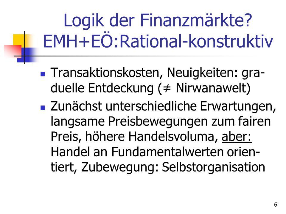 Logik der Finanzmärkte EMH+EÖ:Rational-konstruktiv
