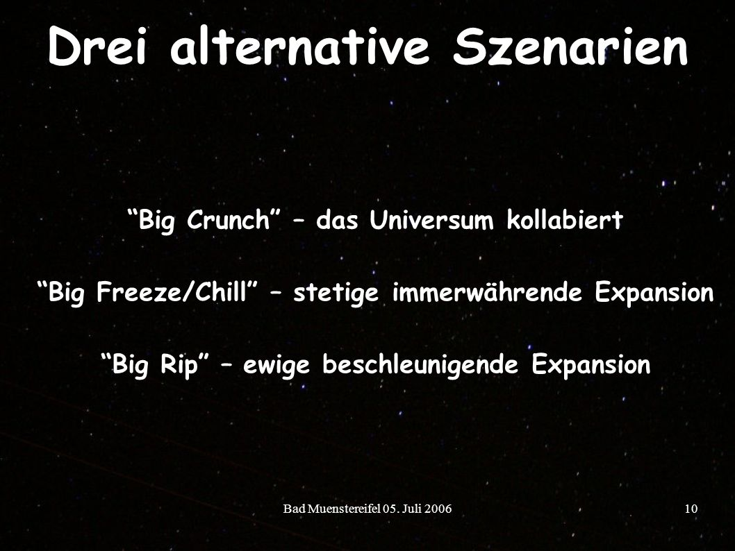 Drei alternative Szenarien