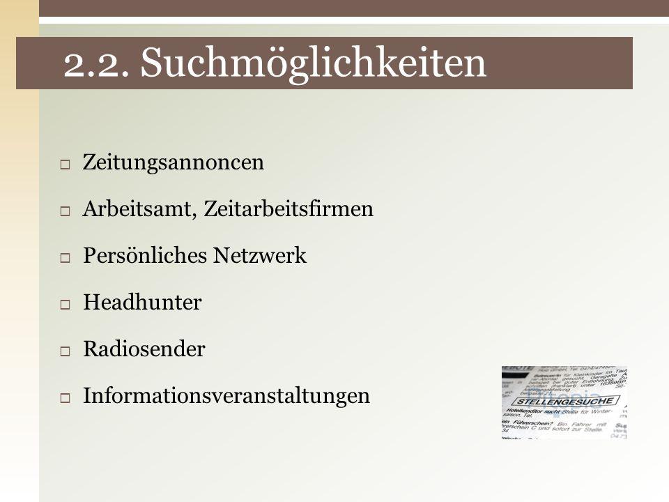 2.2. Suchmöglichkeiten Zeitungsannoncen Arbeitsamt, Zeitarbeitsfirmen