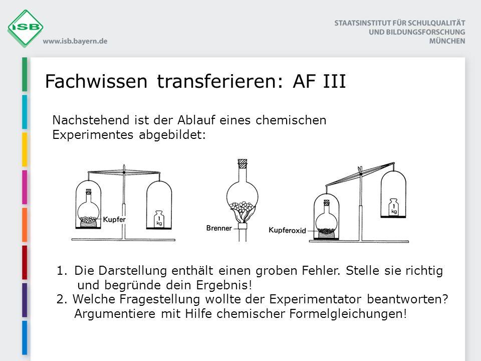 Fachwissen transferieren: AF III