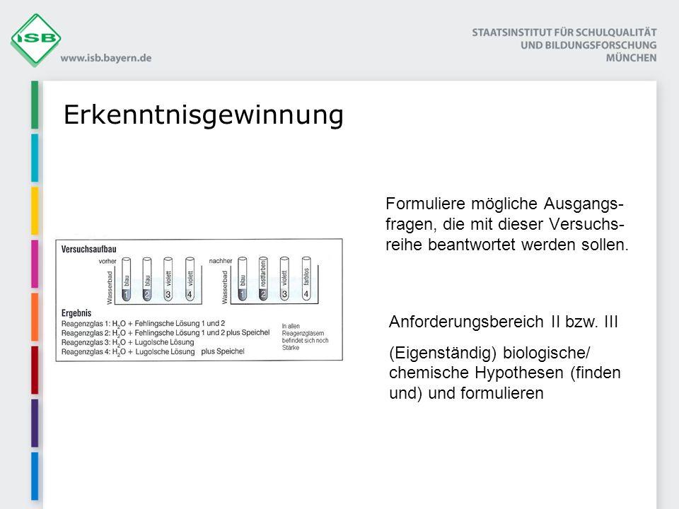 Erkenntnisgewinnung Anforderungsbereich II bzw. III
