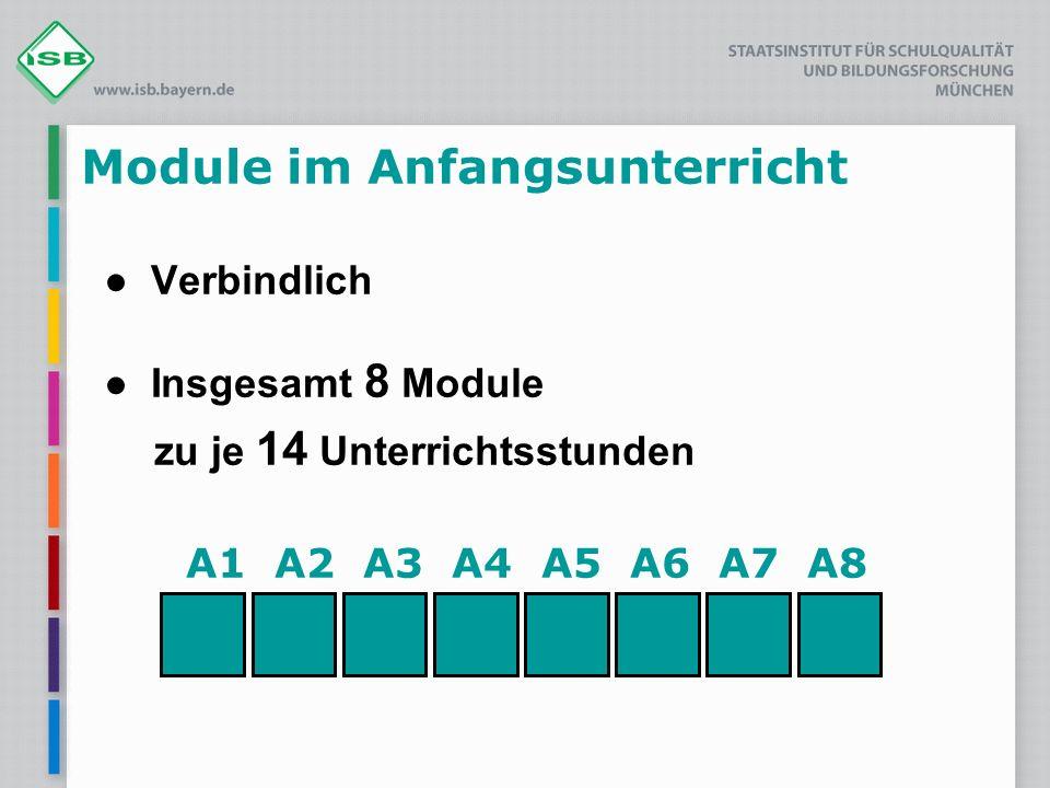 A1 A2 A3 A4 A5 A6 A7 A8 Module im Anfangsunterricht ● Verbindlich