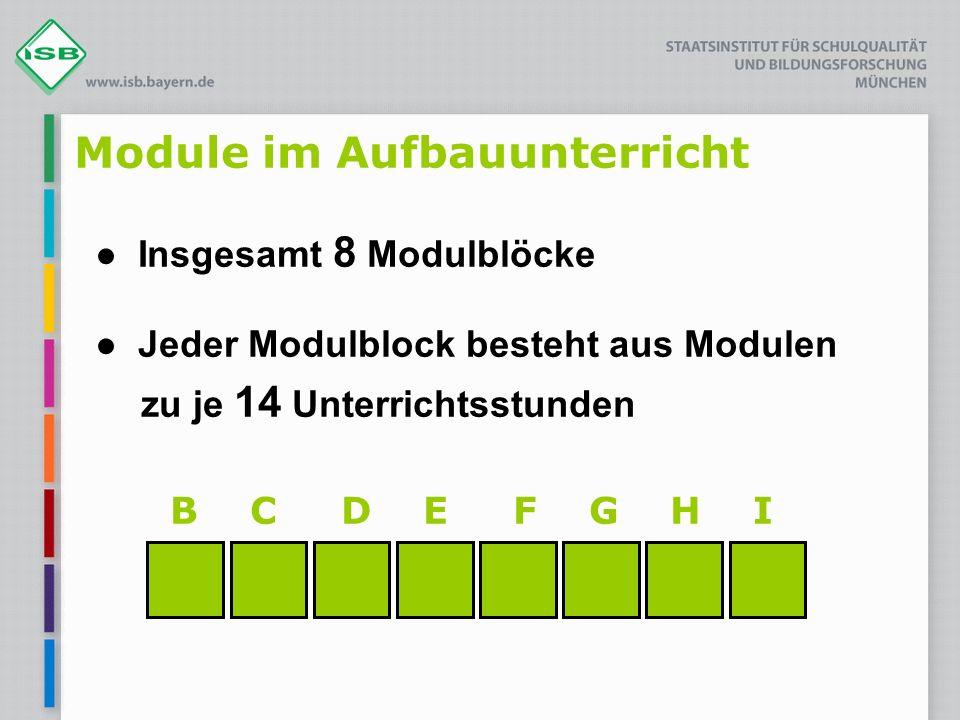 B C D E F G H I Module im Aufbauunterricht ● Insgesamt 8 Modulblöcke