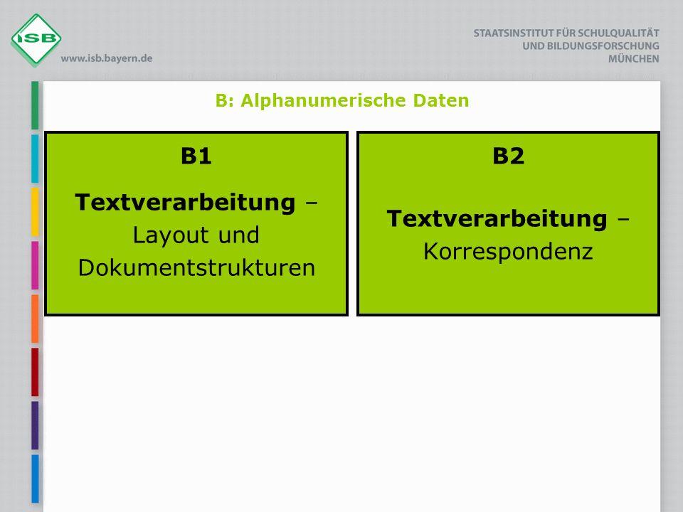 B: Alphanumerische Daten