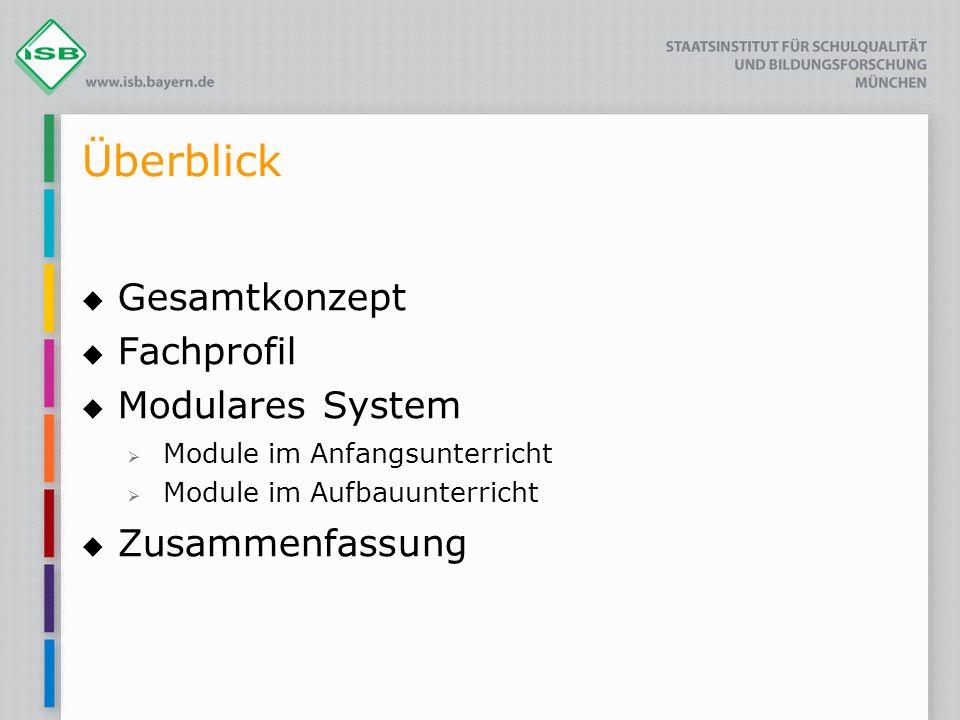 Überblick Gesamtkonzept Fachprofil Modulares System Zusammenfassung