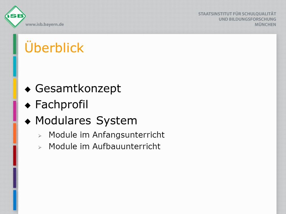 Überblick Gesamtkonzept Fachprofil Modulares System