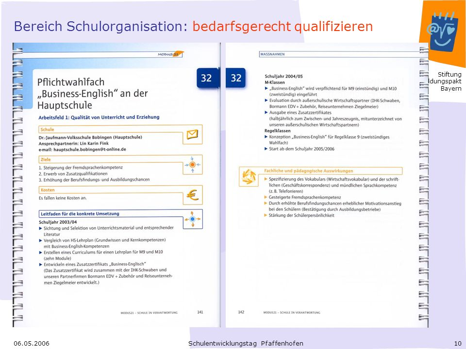 Bereich Schulorganisation: bedarfsgerecht qualifizieren
