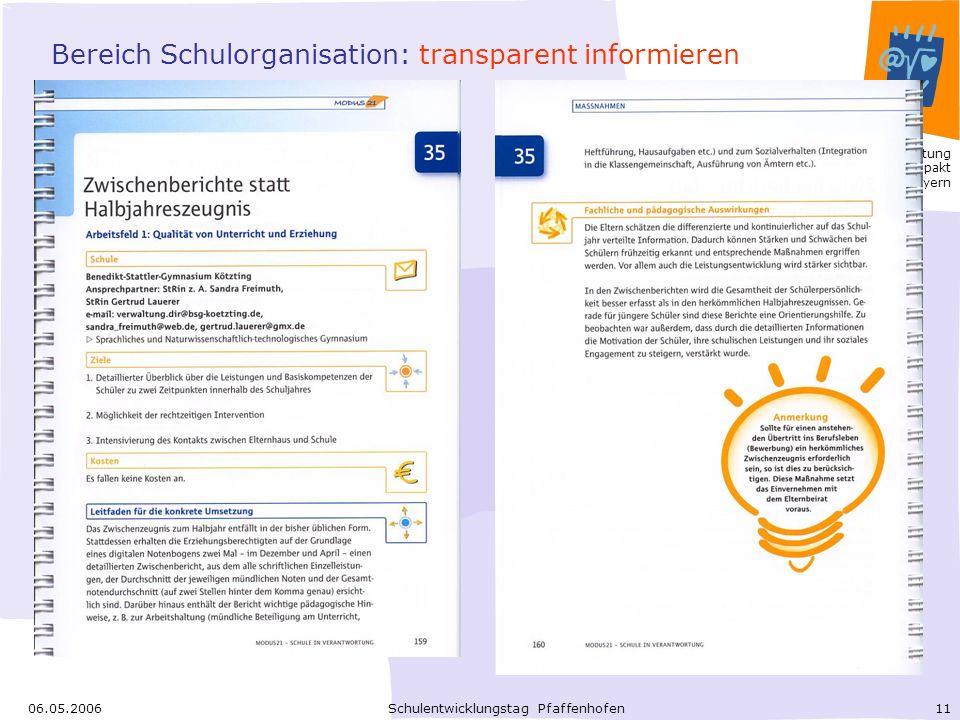 Bereich Schulorganisation: transparent informieren