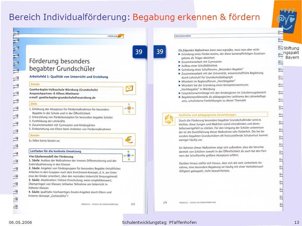 Bereich Individualförderung: Begabung erkennen & fördern