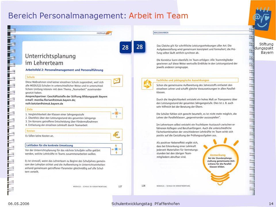 Bereich Personalmanagement: Arbeit im Team