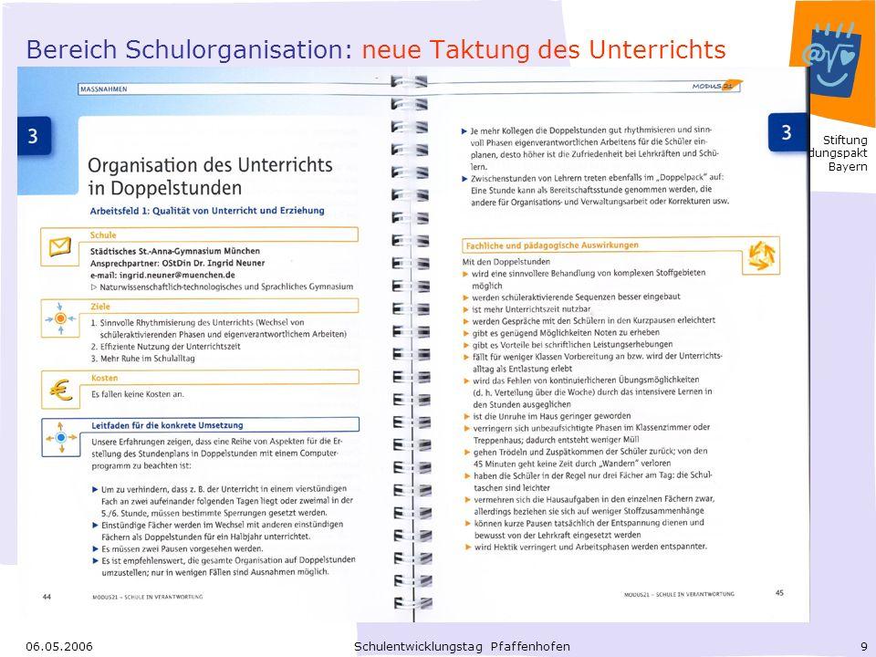 Bereich Schulorganisation: neue Taktung des Unterrichts