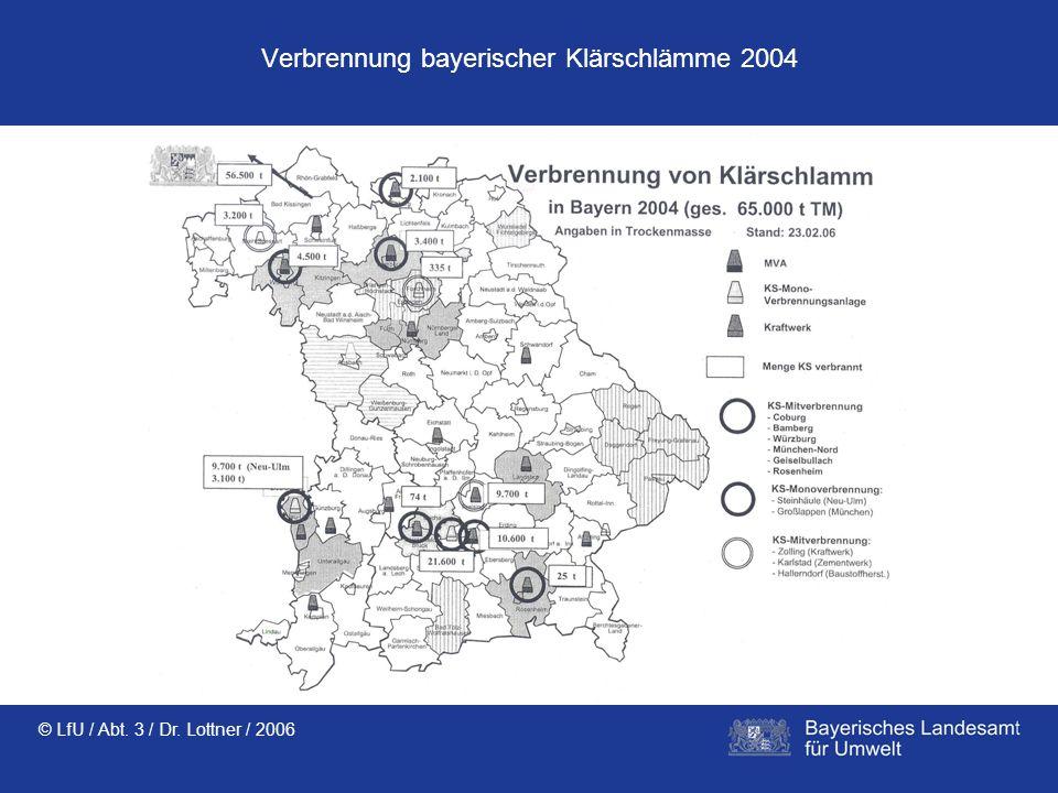 Verbrennung bayerischer Klärschlämme 2004