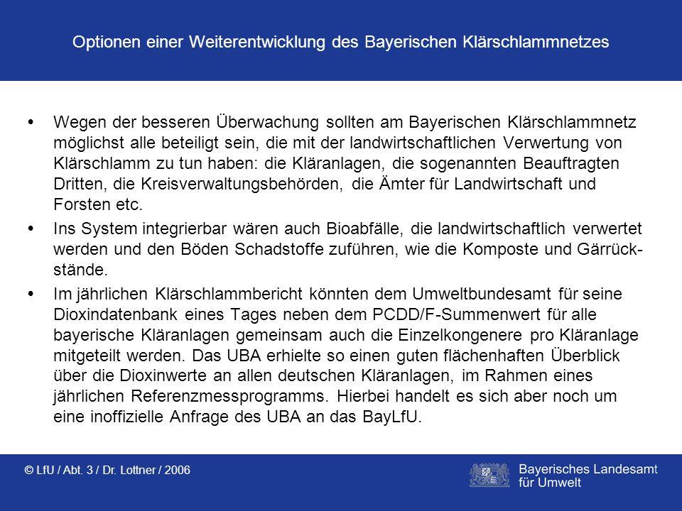 Optionen einer Weiterentwicklung des Bayerischen Klärschlammnetzes