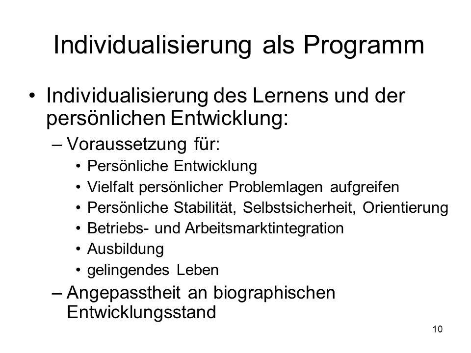 Individualisierung als Programm