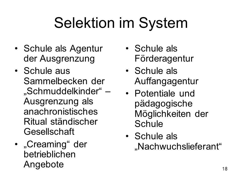 Selektion im System Schule als Agentur der Ausgrenzung