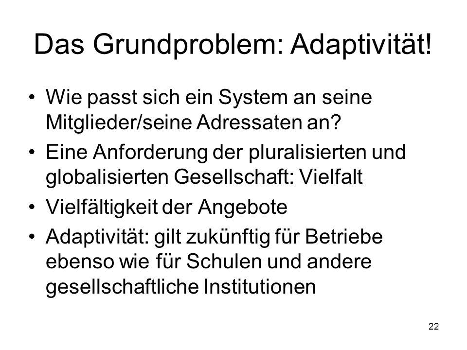 Das Grundproblem: Adaptivität!