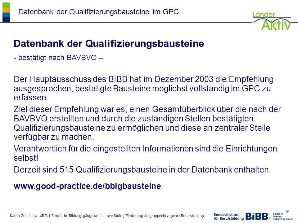 Datenbank der Qualifizierungsbausteine