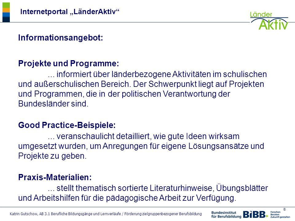 Informationsangebot: Projekte und Programme:
