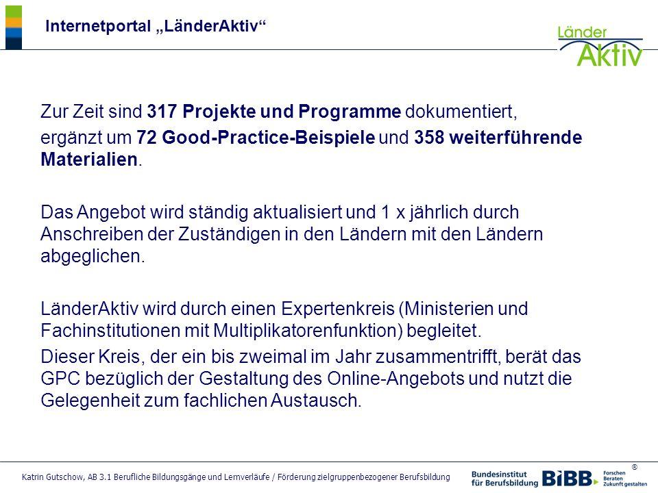 Zur Zeit sind 317 Projekte und Programme dokumentiert,