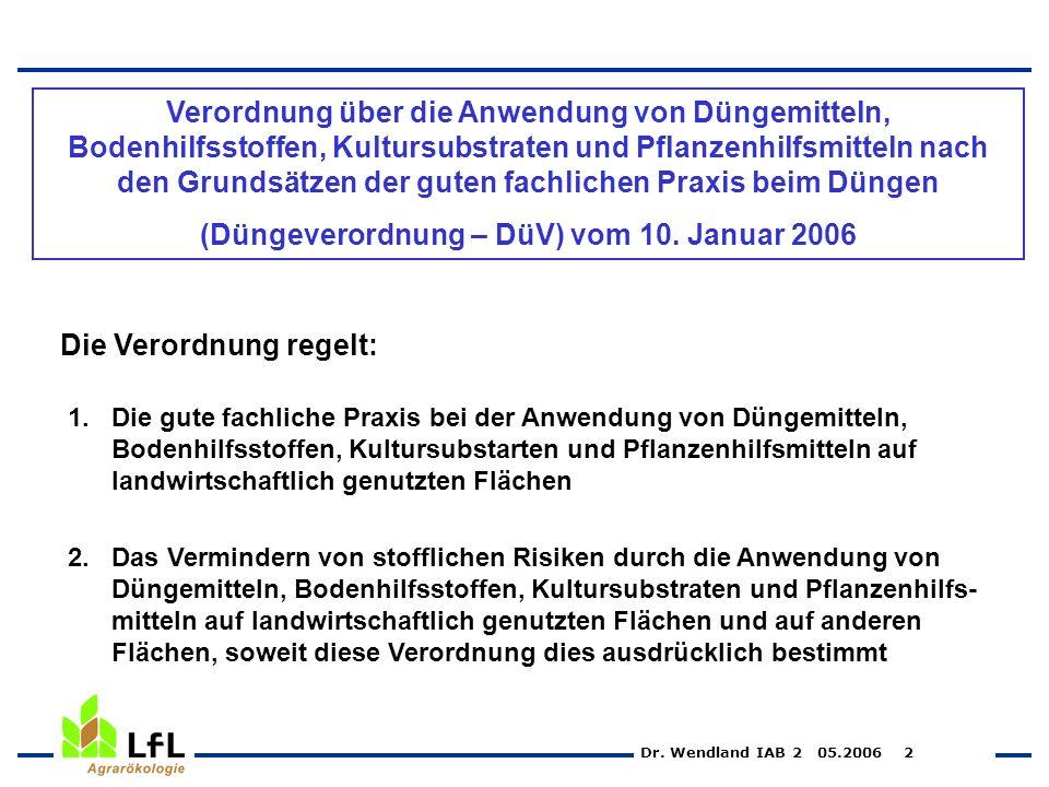 (Düngeverordnung – DüV) vom 10. Januar 2006