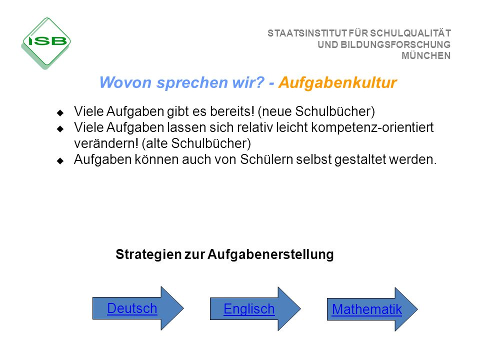 Wovon sprechen wir - Aufgabenkultur Strategien zur Aufgabenerstellung