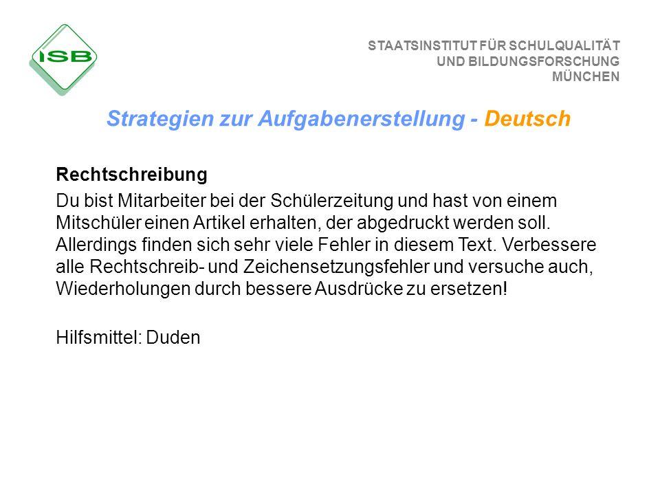Strategien zur Aufgabenerstellung - Deutsch