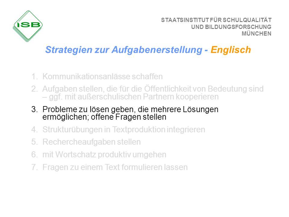 Strategien zur Aufgabenerstellung - Englisch