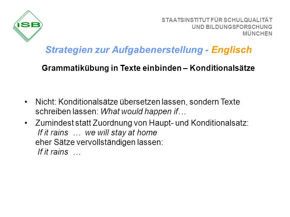 Grammatikübung in Texte einbinden – Konditionalsätze