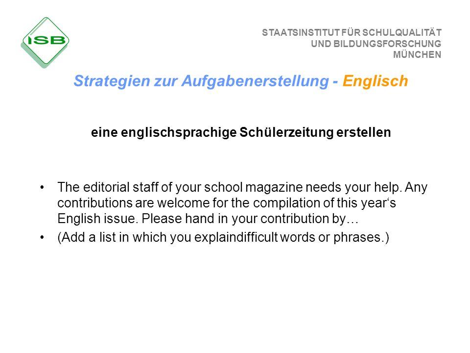 eine englischsprachige Schülerzeitung erstellen
