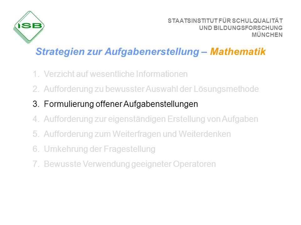 Strategien zur Aufgabenerstellung – Mathematik