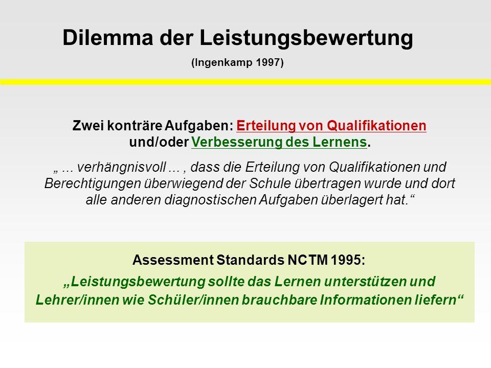 Dilemma der Leistungsbewertung (Ingenkamp 1997)