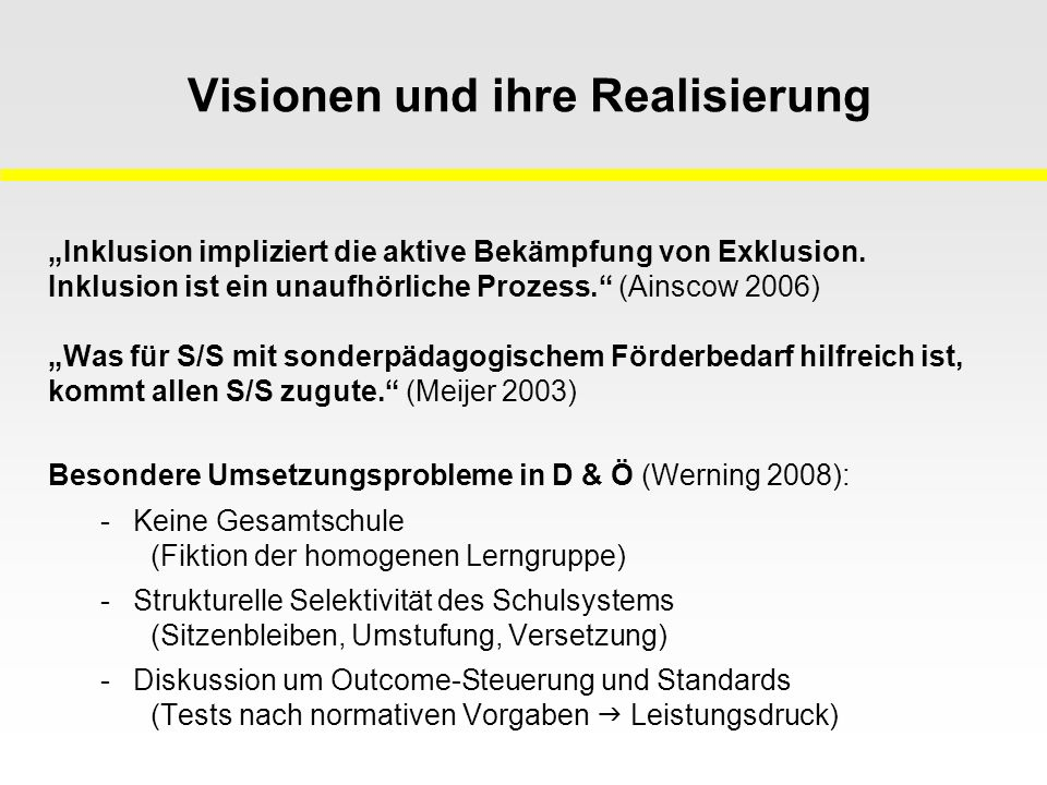 Visionen und ihre Realisierung